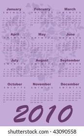 color Illustration of style design Calendar for 2010