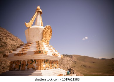 Color image of a Buddhist stupa at a monastery in Mongolia.