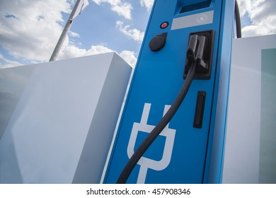 Color image of a charging station for electric cars.