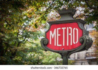 Color image of a metro sign in Paris, France.