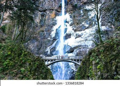 A color image of Oregon's Multnomah Falls in the Columbia River Gorge.  Photo taken in winter.