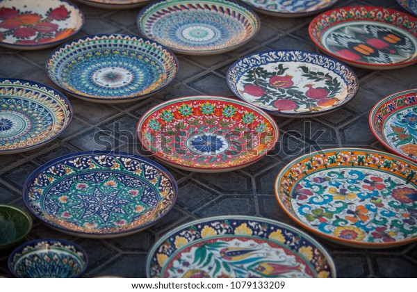 Plates For Sale >> Color Image Some Handmade Uzbekistan Plates Stock Image