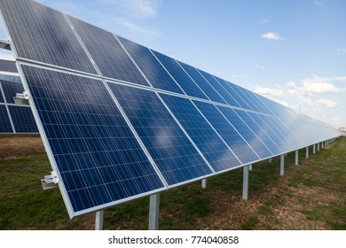 Color image of some solar panels, outdoor.