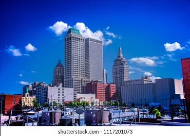 Color Image of Tulsa, Oklahoma skyline from midtown.  Taken 06/19/2018 Image portrays economic and industrial revival of the last part of the 20th century.
