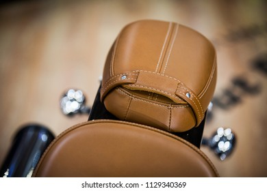 Color image of a vintage motorcycle leather saddle.