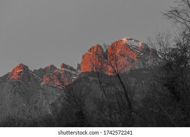 Color isolation effect of wonderful sunset on the walls of Monte Pizzocco with the top covered with snow, Dolomites, Italy. Concept: dolomitic landscape, sunset on the dolomites