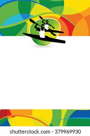 Color kayak sport flyer or poster background with empty space.