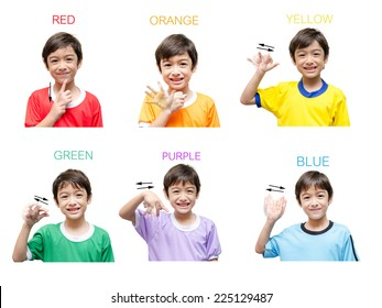 Color kid hand sign language on white background