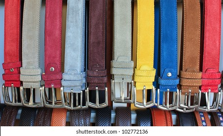 Color leather belts in store