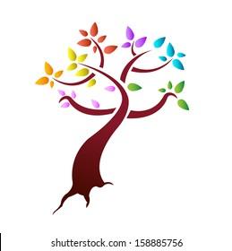 color leaves tree illustration design over a white background