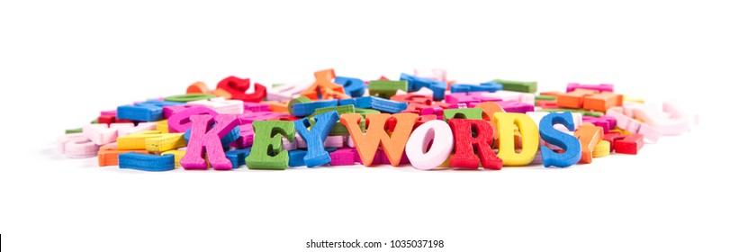 Color letters of the alphabet and the word KEYWORDS isolated on white background