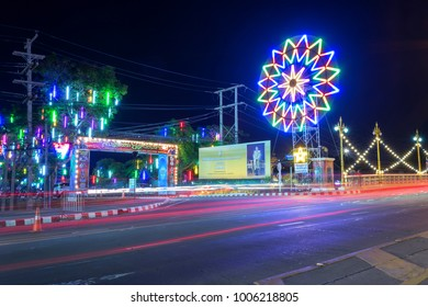 The color of the lights on the Road in Red Cross event in Phitsanulok, Thailand.January 19, 2018.