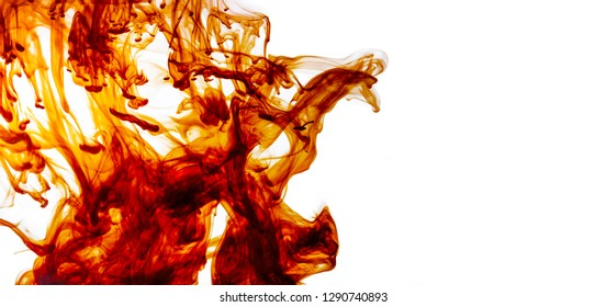Color liquid motion in water. Abstract paint splash background. Ink swirl border design isolated on white.
