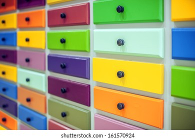 color lockers with handles closeup