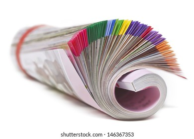 Color magazine isolated on the white background