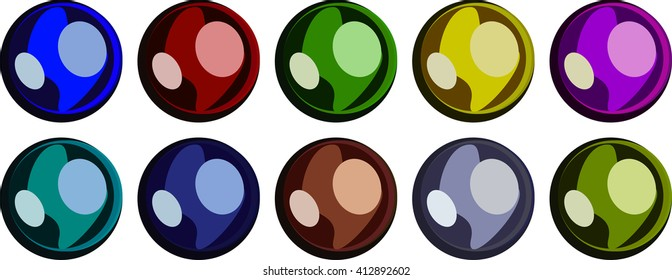Color marbles or buttons for backgrounds, icons, objects blue, yellow, green, red, brown, purple, violet, grey, gray, navy. Round marbles with light specks and overtones. .Round objects. Glossy object