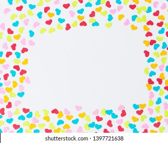 Color Mini Hearts Frame on White