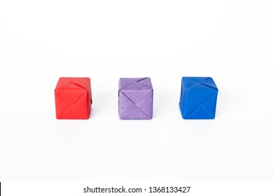 Color Mixing origami cubes - red mix with blue makes purle