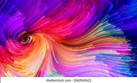 Color In Motion series. Abstract arrangement of Flowing Paint pattern for projects on design, creativity and imagination to use as wallpaper for screens and devices