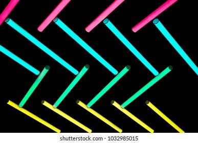 color neon light bulb in dark background
