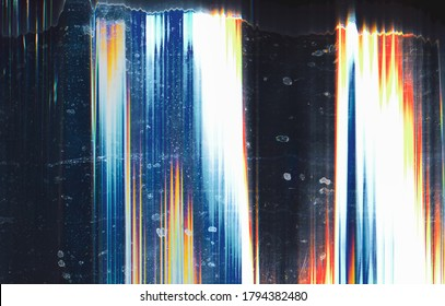 Color noise background. Glitch defect. Blue white orange distorted screen with stains.