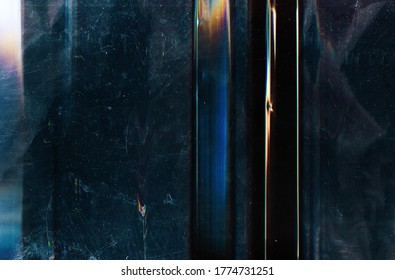 Color noise background. Glitch texture. Teal blue distorted scratched screen with dust.