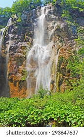Color Painting Beautiful Nature Scenic Waterfall at Plitvice National Park, Croatia in Summer on Sandstone Texture