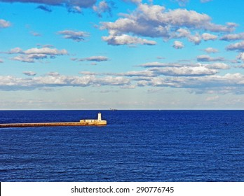 Color Painting Beautiful Scenery Scenic Skyscape and Spectacular Blue Mediterranean Sea in Summer from Valletta, Malta on Sandstone Texture
