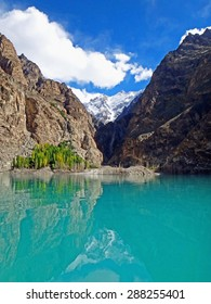 Color Painting Scenic Scenery Emerald Color Passu Lake and Karakoram Mountain Range in Gulmit, Pakistan on Sandstone Texture