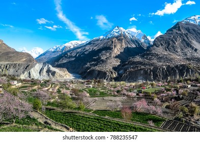 Color Painting  View of Hunza Valley and Karakoram Highway Mountain Range in Gilgit, Pakistan in Spring