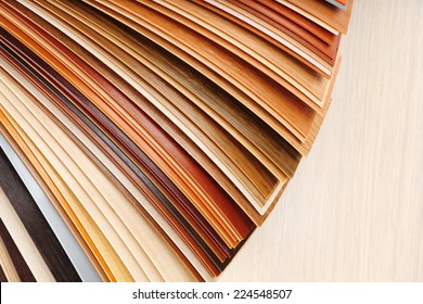 Color palette for furniture on table close-up