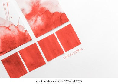 Color Palette Guide in mobile phone on White Background. flatlay. Color of the year 2019 Living coral