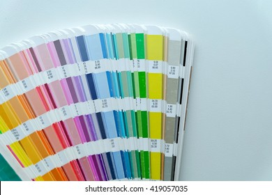 Color palette guide on white background,Focus exclusively on