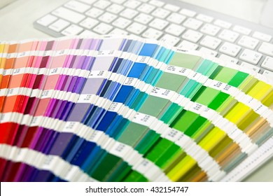 Color palette guide on white background,Focus exclusively on keyboard
