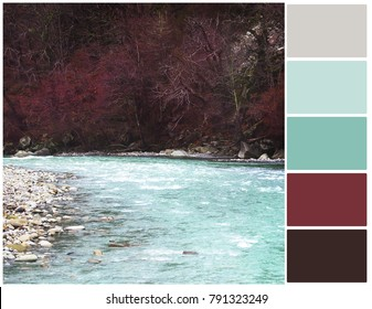 Color palette. Harmonious combination of colors. Color theory and mixing. Beautiful mountain river. Scenery of late autumn.