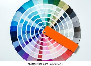 Color palette for repair. Fan of color samples