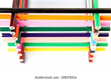 color palette wooden crayon pencils isolated at white background