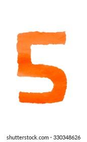 color paper digit number five