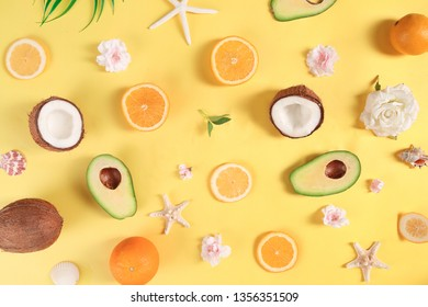 Color pattern with orange, grapefruit and lemon.