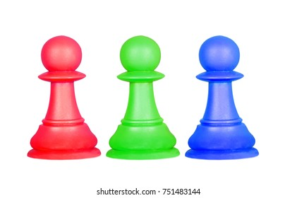 The color pawns, chess pieces isolated on a white background