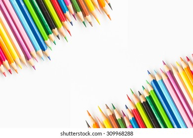Color pencil with copy space isolated on white background,education concept.