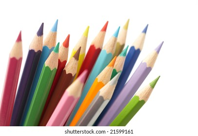 color pencil isolated on white background, studio shot