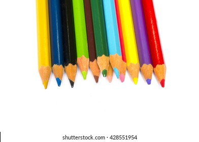 Color pencil on white background