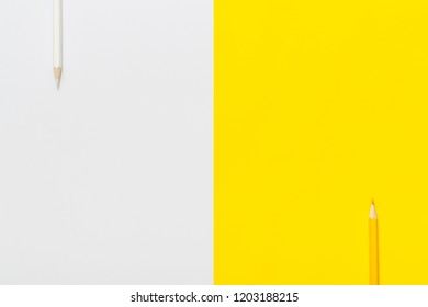 Color pencil on white and yellow background