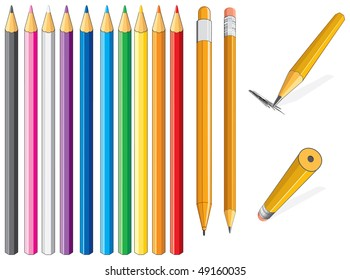 Color pencil- only flat colors without gradients easy editable