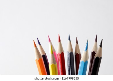 color pencil over white background