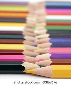Color pencils in arrange in color