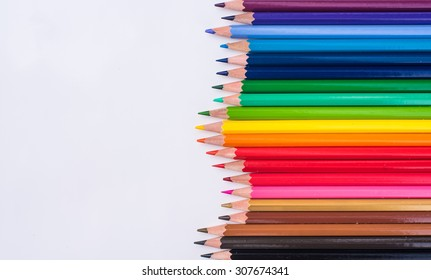 Color pencils background. close up of pencil color and cray.colorful.rainbow.