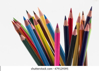 color pencils in a bunch