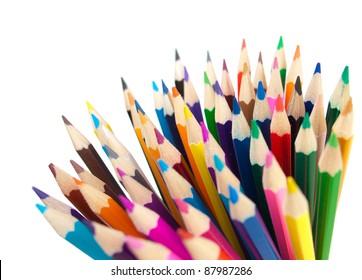 color pencils bunch macro shot